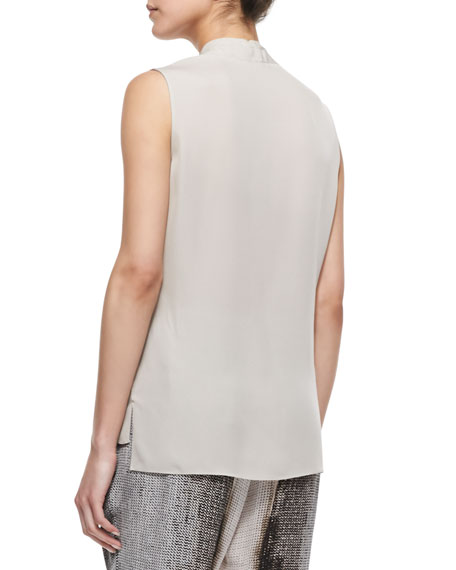 Hayden Sleeveless Shawl-Collar Blouse, Pale Oak