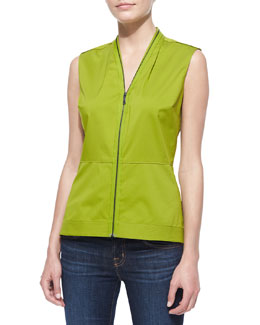 Elie Tahari Laura Sleeveless V-Neck Zip-Front Blouse