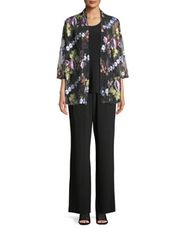 Elie Tahari Lori Sleeveless Tropical Print Blouse