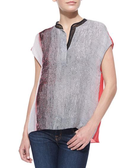 Decklan Short-Sleeve Horizon-Print Blouse