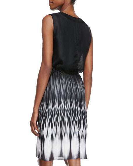 Rema Sleeveless Ombre Ikat-Print Dress