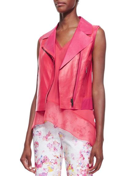 Katie Sleeveless Moto Leather Vest