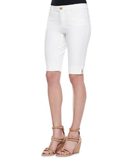 Minnie Rose Twill Bermuda Shorts, White
