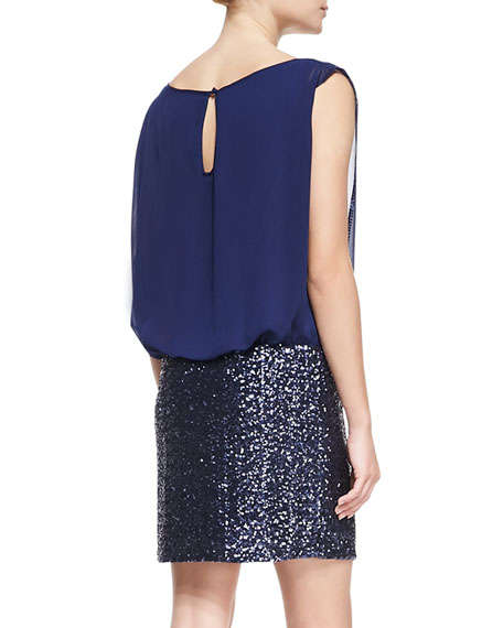 Sleeveless Blouson-Top Cocktail Dress, Midnight Blue