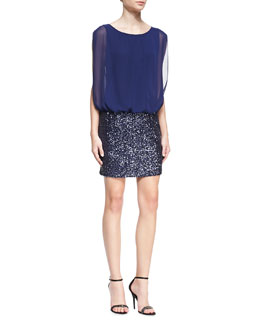 Aidan by Aidan Mattox Sleeveless Blouson-Top Cocktail Dress, Midnight Blue