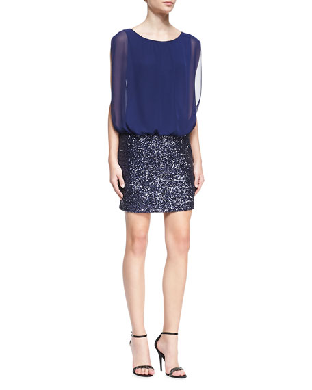 Aidan by Aidan Mattox Sleeveless Blouson-Top Cocktail Dress,