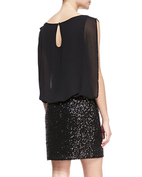 Sleeveless Blouson Top Cocktail Dress, Black
