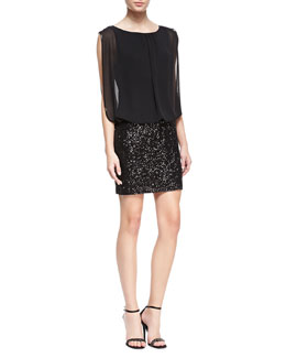 Aidan by Aidan Mattox Sleeveless Blouson Top Cocktail Dress, Black