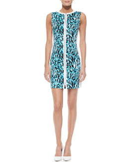 Elie Tahari Mila Printed Front-Zip Dress, Space Blue
