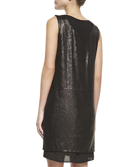 Leanna Sleeveless Shift Dress, Black