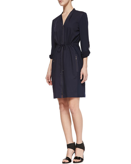 Martina Long-Sleeve Zip Shirtdress, Midnight Blue