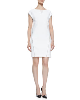 Elie Tahari Christina Cap-Sleeve Dress with Illusion V-Neck
