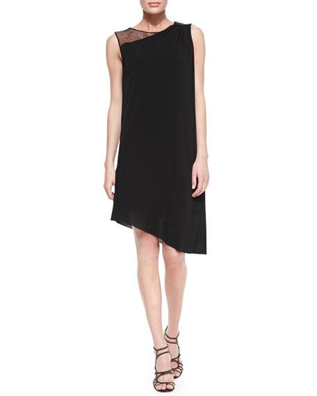 Rosa Sleeveless Mesh Shoulder Asymmetric Dress