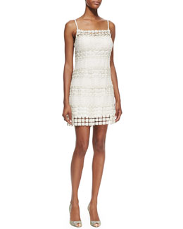 Phoebe by Kay Unger Crochet-Floral-Panel Cocktail Dress