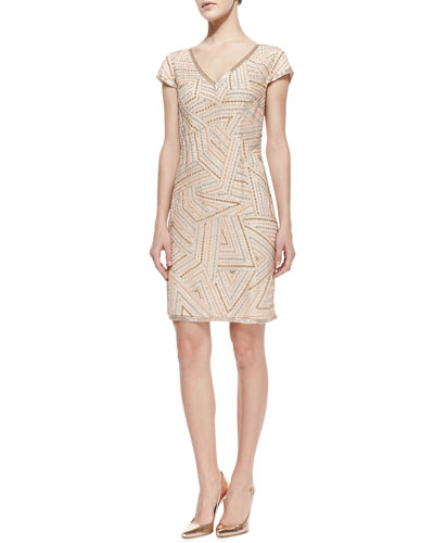 Phoebe by Kay Unger Cap-Sleeve Beaded Cocktail Dress