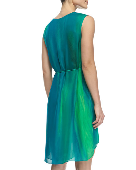 Dorene Sleeveless High-Low Silk Dress