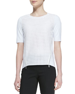 Elie Tahari Brinson Perforated-Front Blouse with Zip Sides