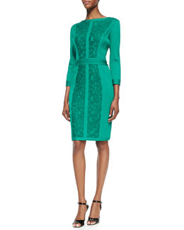 Tadashi Shoji 3/4-Sleeve Panel Cocktail Dress