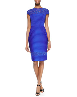 Tadashi Shoji Cap-Sleeve Pintuck Lace-Detail Cocktail Dress