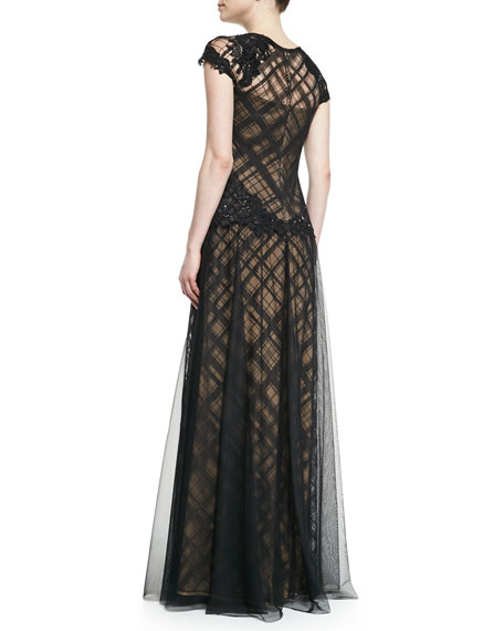 Cap-Sleeve Lace Overlay & Floral Appliqué Gown