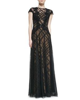 Tadashi Shoji Cap-Sleeve Lace Overlay & Floral Appliqué Gown