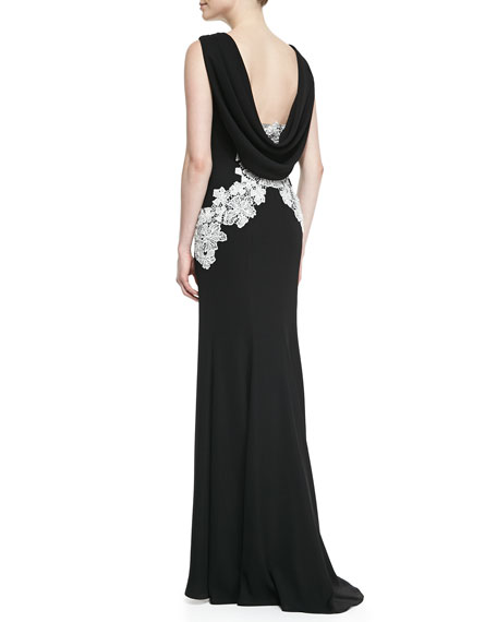 Sleeveless Floral Appliqué-Front Gown