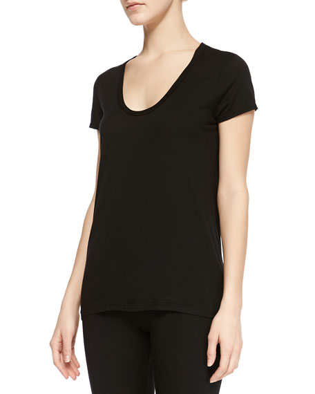 Splendid Classics Very Light Jersey High-Low Tee, Black