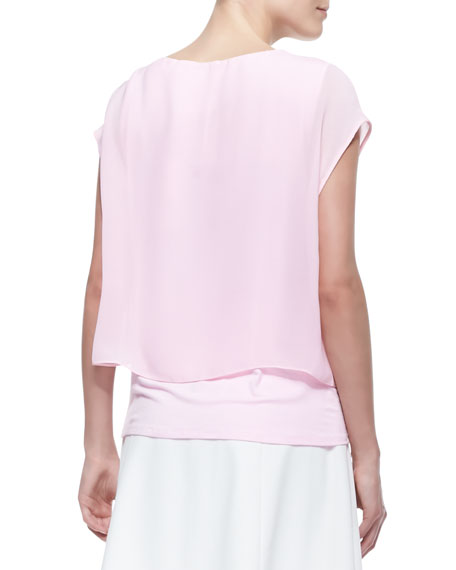 Nia Short-Sleeve Double-Layer Hem Blouse