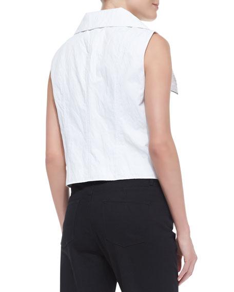 Collette Asymmetric Zip Vest, White