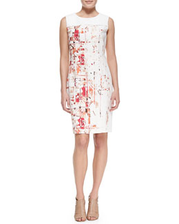 T Tahari Dakota Sleeveless Hieroglyph-Print Dress