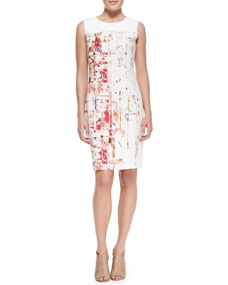 Dakota Sleeveless Hieroglyph-Print Dress