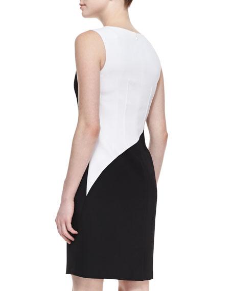 Zehal Sleeveless Swirl Sheath Dress, Black/White