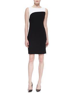 T Tahari Zehal Sleeveless Swirl Sheath Dress, Black/White