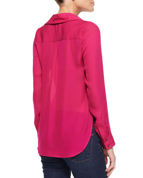 Collared Cowl-Neck Blouse, French Kiss