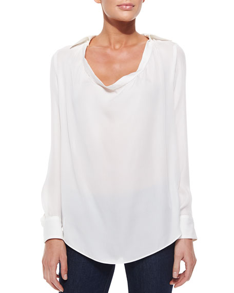 Collared Cowl-Neck Blouse, Swan