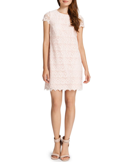 Reese Cap-Sleeve Lace Shift Dress, Pink