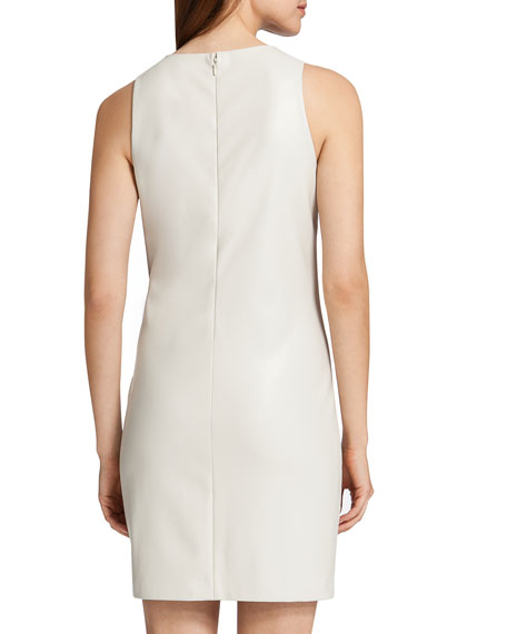Lux Sleeveless Laser-Cut Scuba Dress, White
