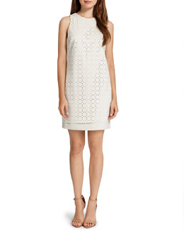 Cynthia Steffe Lux Sleeveless Laser-Cut Scuba Dress, White