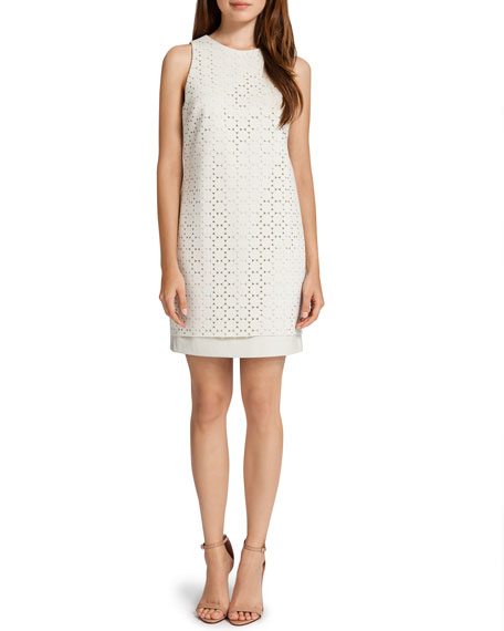 Lux Sleeveless Laser-Cut Scuba Dress, White