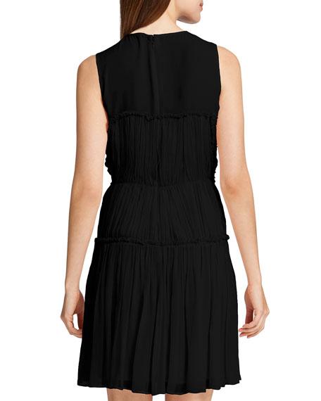 Winslet Tiered Crinkled Dress, Black