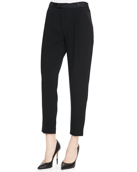 Park Cropped Tapered Crepe Pants