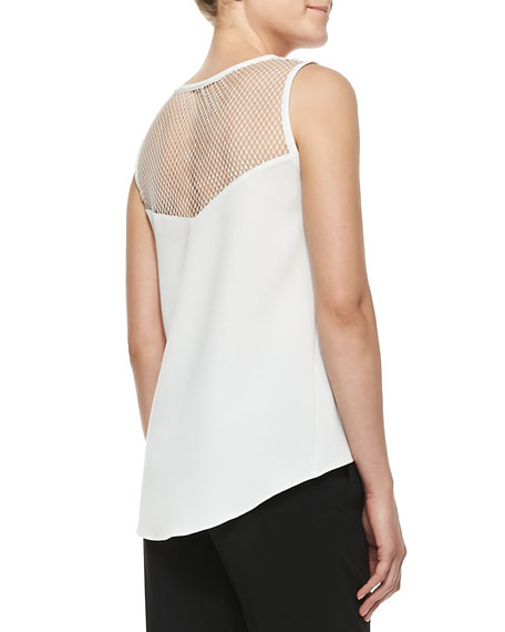 Franklin Cutout-Yoke Crepe Top