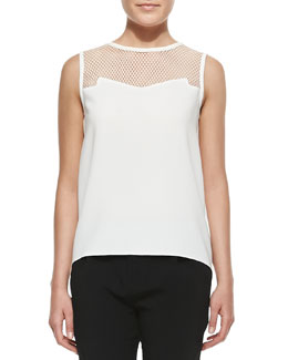 Rag & Bone Franklin Cutout-Yoke Crepe Top