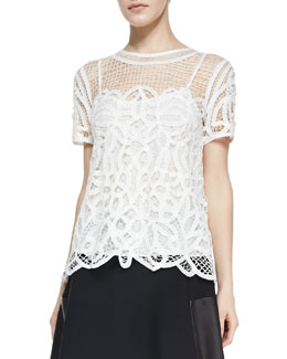 Rag & Bone Nancy Sheer Netted/Lace Blouse