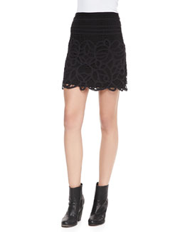 Rag & Bone Nancy Jersey Lace-Overlay Skirt