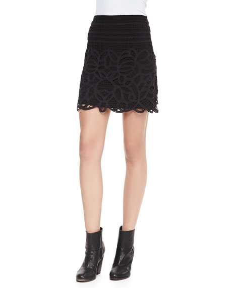 Nancy Jersey Lace-Overlay Skirt