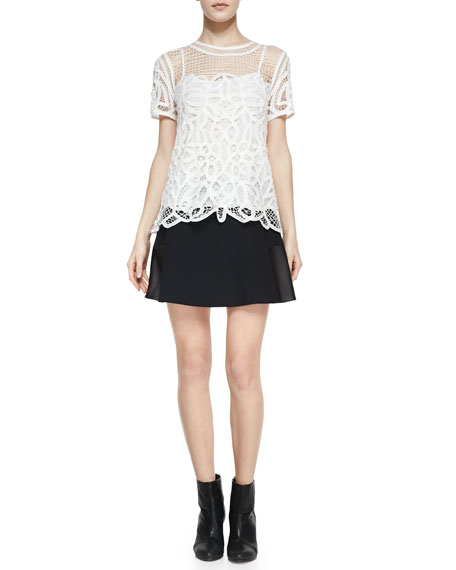Montrose Flared Leather-Panel Skirt