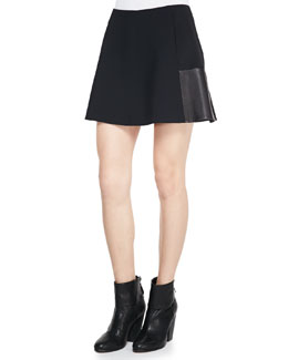 Rag & Bone Montrose Flared Leather-Panel Skirt