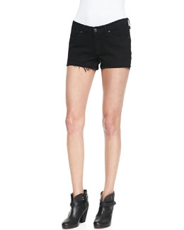 rag & bone/JEAN Denim Cutoff Shorts, Coal