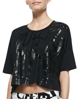 rag & bone/JEAN Noah Tape-Pattern Cropped Tee